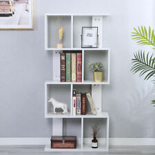 4 Tier Bookshelf Bookcase Display Divider StorageS Shaped Wooden Organiser Unit