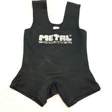Metal Squatter Wrestling Power Lifting Gear Black Singlet Mens, see measurements