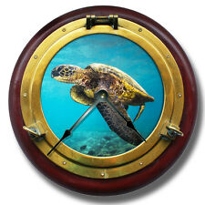 "10.5"" Seaturtle Brass Porthole Wall Clock - Home Wall Decor - 7137_FT"