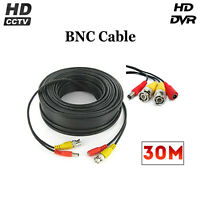 30M BNC RCA Cable DC Power and Video Lead For CCTV Security Camera DVR LOT sale