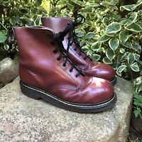Vintage DR MARTENS MADE IN ENGLAND 7-Eye Cherry Red Leather Steel Toe Boots 7 UK