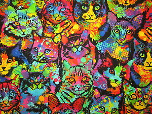 MOD CATS PAINTED CAT BRIGHT COLORS COTTON FABRIC BTHY