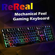 Keyboard Gaming Mechanical Feel USB Wired PC LED Backlit Keys UK Ergonomic Gamer