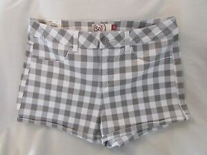 "Ladies ""SO"" Size 15, Grey Check, High Rise, Flat Front, Cuffed, Shortie Shorts"