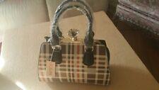 Rosani  Plaid Purse Brown Beige Orange BLK New Crossbody Handbag Vegan Lead Free