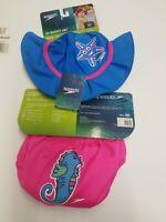 Girls Speedo Swim Diaper UV 50 BLOCK BURN Technology Size 6  Months + bucket hat