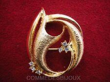 """Broche """"Gerbe Flamme"""" cristal Blanc Ondulations - Bijoux Vintage Sphinx"""