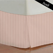 1000 TC Peach Striped Bed Skirt Select Drop Length All US Size 100% Egy. Cotton