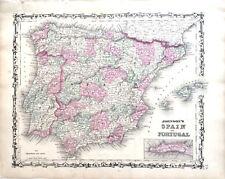 MAP SPAIN PORTUGAL GIBRALTAR 1862 VINTAGE ANTIQUE ORIGINAL JOHNSON HAND COLORED