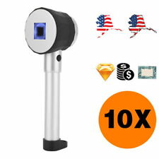 10X Magnifier Handheld Loupe w/ Scale LED Handle Optical Lens Jewelry Checking
