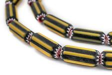 Yellow Jacket Chevron Beads 10mm Nigeria African Cylinder Glass Large Hole