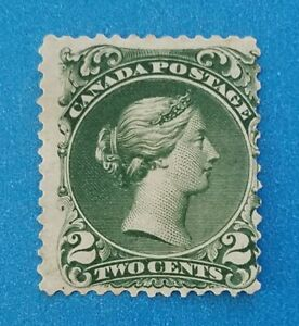 Canada Scott #24 MNG very bright green colors. Good perfs. Beautiful stamp.