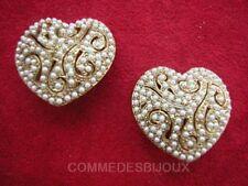 """B.O. """"Coeur aux Perles de Nacre"""" Amour Cupidon True Love - Bijoux Vintage Sphinx"""