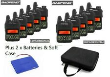 UK 10xBaofeng BF-T1 2 Way Radios + 2xBatteries + 2xSoft Case + Programming Cable