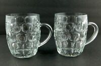 Pair of Vintage Ravenhead Glass Dimpled Pint Beer Mug Hangled Mugs England Made
