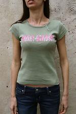 Harley Davidson Piacenza Italia Club Verde Rosa T Shirt Top Hecho en EE. UU. S Pequeño