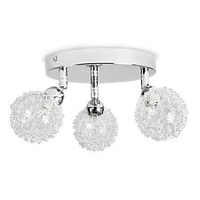 Contemporary Silver Chrome + Glass 3 Way Adjustable Flush Ceiling Light Fitting
