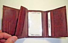 Men's Wallet Tri-Fold Brown (Dark Brown - Burgundy)