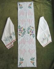 19C Antique Set Of Three Folk Art Cotton Hand Embroidered Table Napkins Towels