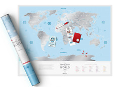 SILVER SCRATCH OFF TRAVEL MAP DETAILED WORLD MAP PUSH PIN POSTER SCRATCH CARD