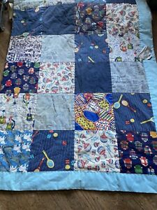 Vintage Handmade Quilt Blanket PEPSI Fabric Hand Quilted 70s Bedspread 78 X 100
