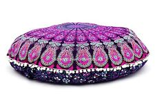 Peacock Mandala Indian Cotton Floor Pillow Cover Ottoman Pouffe Large Seating