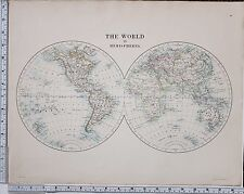 1889 LARGE ANTIQUE MAP ~ THE WORLD IN HEMISPHERES CENTRAL AMERICA AFRICA OCEANIA