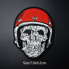 Skull Red Helmet Iron On Patch Embroidered Badge Fabric Applique Patches DIY