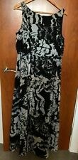 MONSOON Black + off white full length lined evening maxi dress sequins 16