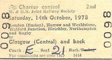 B.R.B. Edmondson Ticket - M. & G.N. Jt. Railway Society Glasgow Railtour 1978