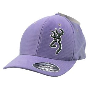 Browning Flex Fit Hat Purple Gray Gradient Fade Hunting Outdoors Size S-M New