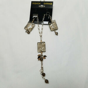Simulated Quartz Necklace And Earrings Silver Tone