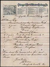 1883 Chicago & North Western Railway Co - Deerfield Wi  Vintage Letter Head Rare