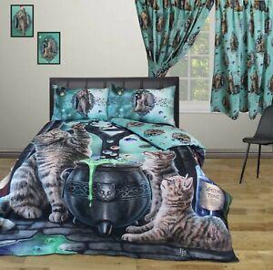 Lisa Parker King Size Duvet Cover Set Hubble Bubble Cats Witches Reversible