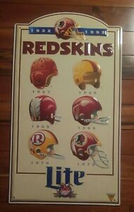 "Washington Redskin 1932-1995 Tin Metal Sign Football Helmets Miller Lite 24""x13"""