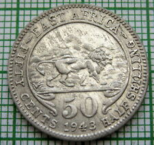 EAST AFRICA GEORGE VI 1943 50 CENTS, LION COLONIAL ISSUE, BILLON