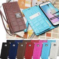 Crocodile Wallet Case for LG G7 G6 G5 G4 G3 V30 V20 V10 X Screen/ iPhone 6s Plus