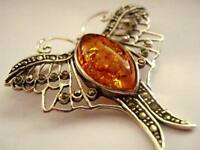 "Sterling Silver Marcasite Amber Butterfly Brooch Vintage Art Deco style 1.5"" New"
