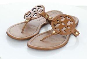 32-44  $198 Women's Sz 9.5 M Tory Burch Miller Leather Medallion Thong Sandals