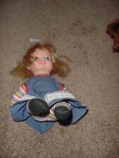 """Vintage 1970 Remco Striped Doll Lil Polly Puff 9"""" Tall (Sitting) Rare"""