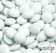 1000pcs White Glass Pebbles, Flat Bottom Gem Stones Marbles Vase Fillers, 10 lbs