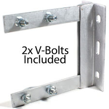 "6"" x 6"" TV Aerial Wall Mounting Bracket & V Bolts Galvanized -Pole/Mast Install"