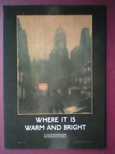 POSTCARD  LONDON TRANSPORT POSTER - 1924 WHERE IT IS WARM & BRIGHT