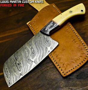 Louis Martin Rare Handmade Damascus Camel Bone Hunting Clever Chopper Axe Knife