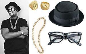 New Fancy Dress Costume Run DMC 80's Rap Group Hat Glasses Pimp Ring Gold Chain