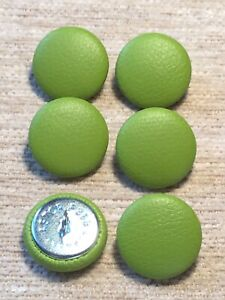 Faux Leather 36L/23mm Lime Vinyl Covered Upholstery Buttons Sewing Craft (Green)
