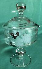 "Vintage 10"" Etched Flower Gold Leaf Clear Glass Pedestal Covered Candy Dish"