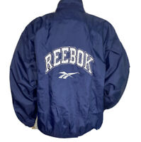 Vintage Reebok Jacket Windbreaker 90s Embroidered Spell Out Retro Blue Men Sz M
