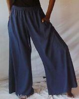 navy palazzo pants split skirt gaucho ONE SIZE-M L XL 1X 2X 3X 4X 5X 6X plus