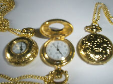 "Vintage Style Yellow Gold Plated Pocket Watch Pendant 29"" Chain Slim Necklace"